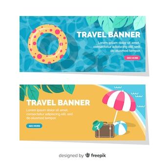 Bannière de voyage plat