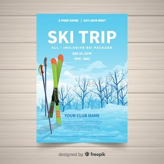 Bannière de voyage de ski