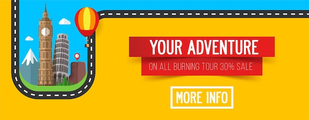 Bannière de voyage et tourisme