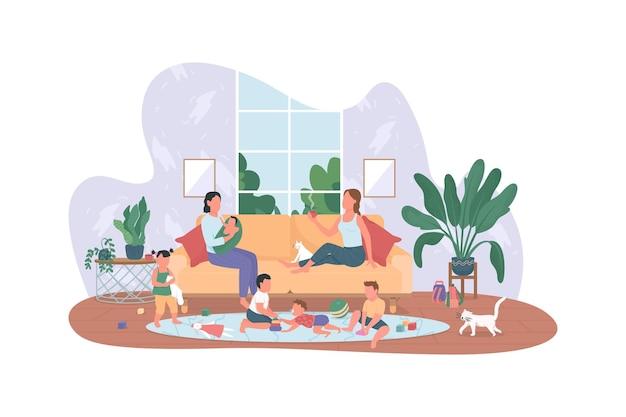 Bannière web 2d de baby-sitting, affiche