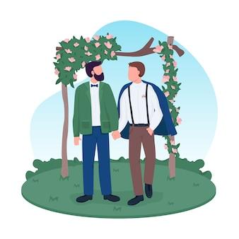 Bannière web 2d de couple marié homosexuel