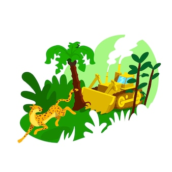 Bannière web 2d de destruction de forêt, affiche. impact humain sur les bois. dommages industriels à l'environnement plat paysage sur fond de dessin animé. patch imprimable de déforestation, élément web coloré