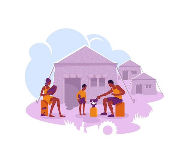 Bannière web 2d du camp de réfugiés, affiche. personnages plats de règlement temporaire de migrants illégaux sur fond de dessin animé. famille d'immigrants dans le patch imprimable de tentes, élément web coloré