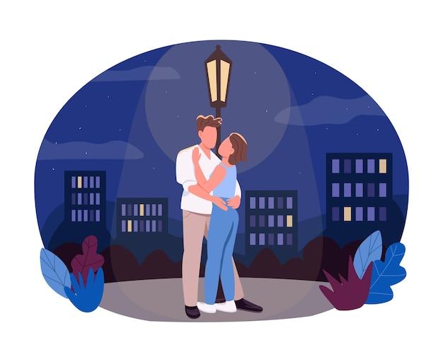 Bannière web 2d de marche nocturne, affiche. petit ami câlin petite amie sous la lanterne. couple de personnages plats sur fond de dessin animé. patch imprimable date romantique de minuit, élément web coloré