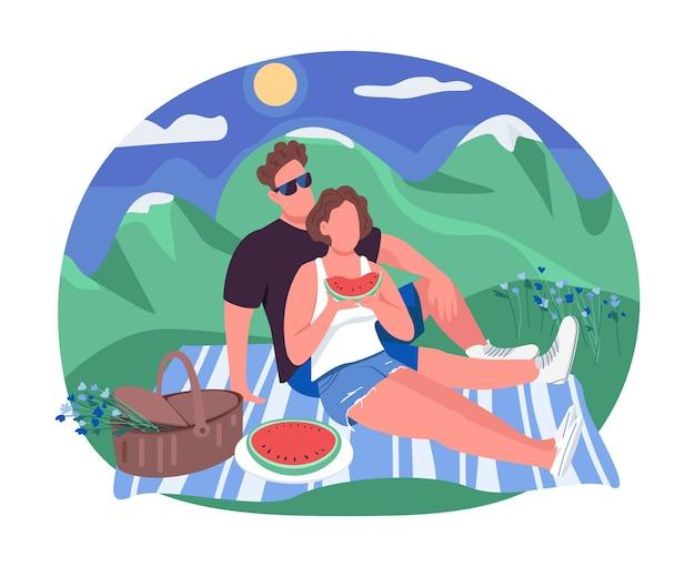 Bannière web 2d pique-nique romantique, affiche. l'homme et la femme sont assis sur une couverture. copain et petite amie personnages plats sur fond de dessin animé. patch imprimable de vacances de couple, élément web coloré
