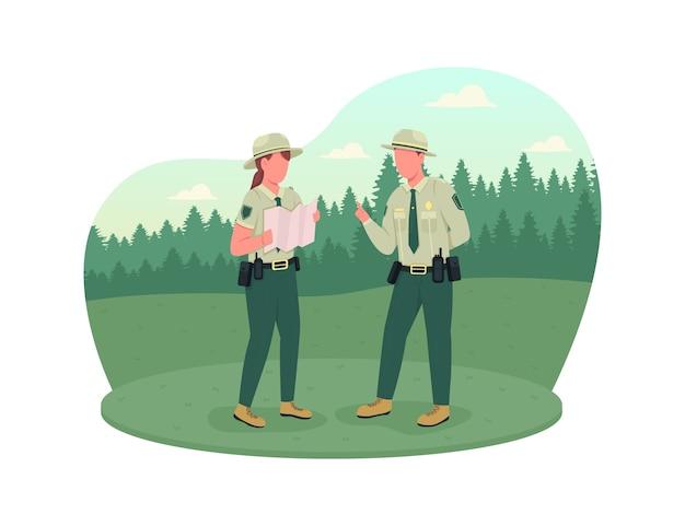 Bannière web 2d de la police de l'environnement, affiche. protection des forêts. instructeur ranger. policiers personnages plats sur fond de dessin animé. patch imprimable d'application de la loi, élément web coloré