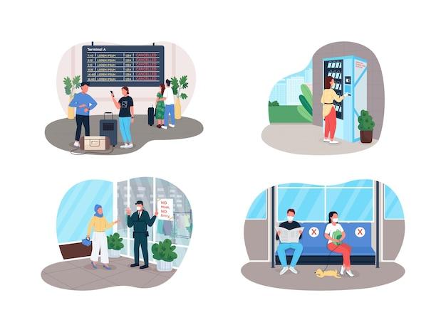 Bannière web 2d de règles de covid social, ensemble d'affiche