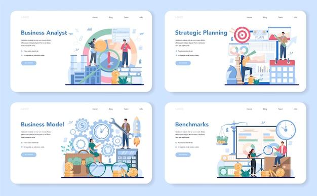 Bannière web d'analyste commercial ou ensemble de pages de destination