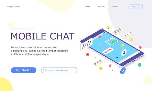 Bannière web d'application de chat de médias sociaux mobiles isométriques