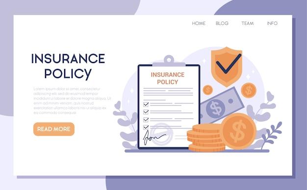 Bannière web d'assurance. idée de sécurité et de protection des biens et de la vie contre les dommages. sécurité des voyages et des affaires.