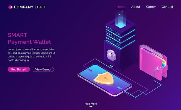 Bannière web d'atterrissage isométrique de portefeuille de paiement intelligent