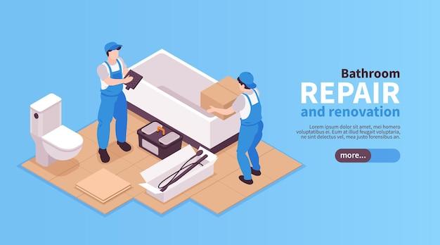 Bannière web de bain de réparations isométriques avec des personnages de travailleurs installant des meubles de salle de bain texte et bouton modifiables