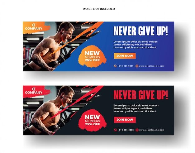 Bannière web et bannière de médias sociaux de fitness gym
