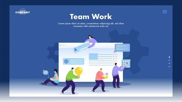 Bannière web basée sur le travail d'équipe avec des hommes d'affaires travaillant ensemble comme chat en ligne, idée, calendrier à maintenir sur le site web.