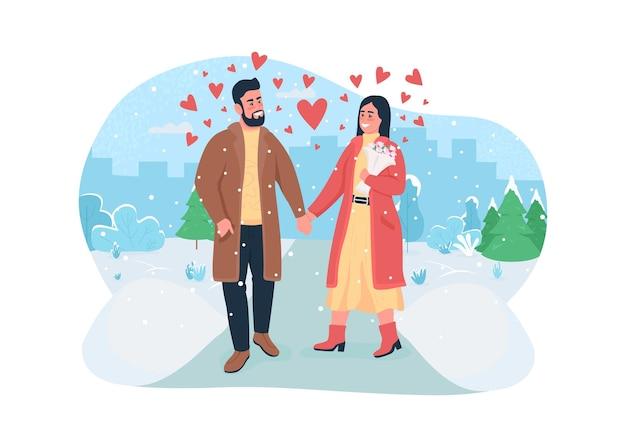 Bannière web de célébration de la saint-valentin, affiche. marchez dans le parc d'hiver avec de la neige.