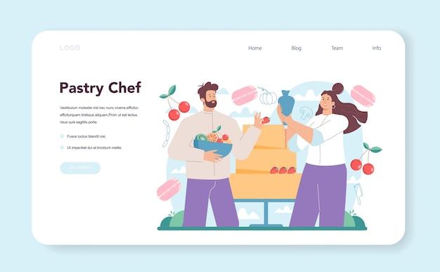 Bannière web de chef pâtissier ou confiseur de page de destination en tablier rendant savoureux