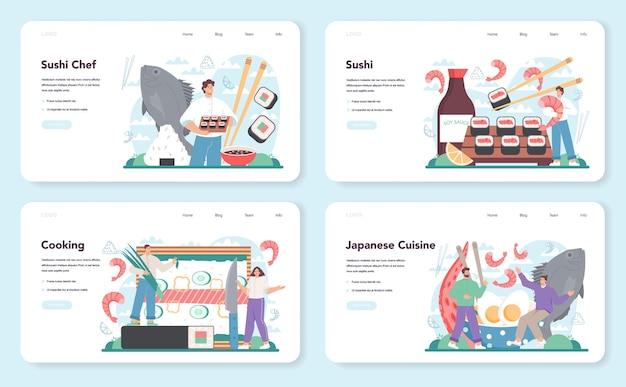 Bannière web de chef de sushi ou ensemble de pages de destination