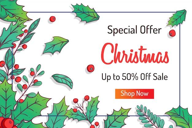 Bannière web colorée de noël pour un rabais ou une vente de magasinage avec des feuilles pour