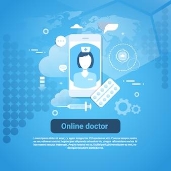Bannière web sur le concept d'application des soins de santé