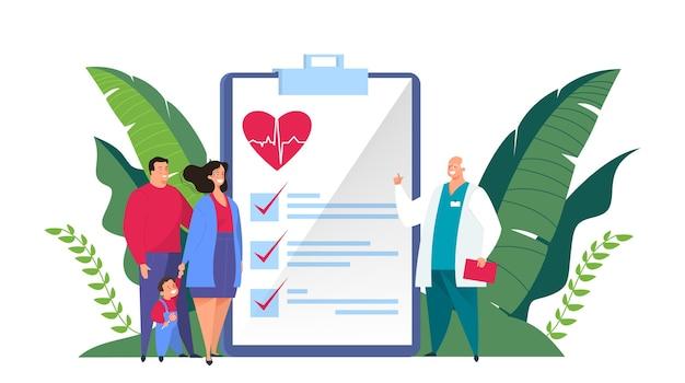 Bannière web de concept d'assurance maladie. les gens et le médecin debout devant le grand presse-papiers avec un document dessus. santé et service médical. illustration