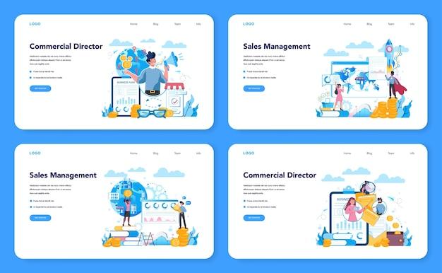 Bannière web de concept de directeur des ventes ou directeur commercial ou ensemble de pages de destination