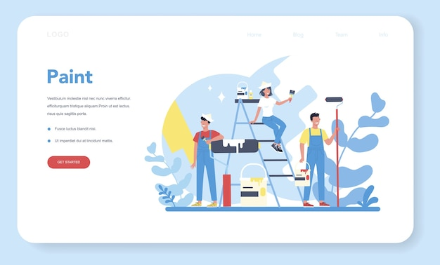 Bannière web de concept de peinture murale de maison ou page de destination.