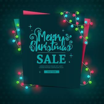 Bannière web de conception de modèle pour la vente de joyeux noël.