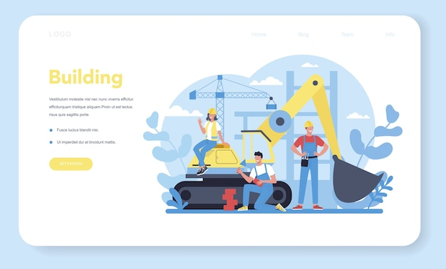 Bannière web de construction de maison ou page de destination.
