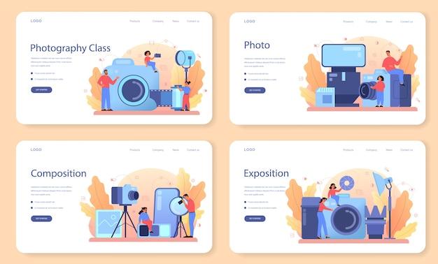 Bannière web de cours d'école de photographie ou ensemble de pages de destination