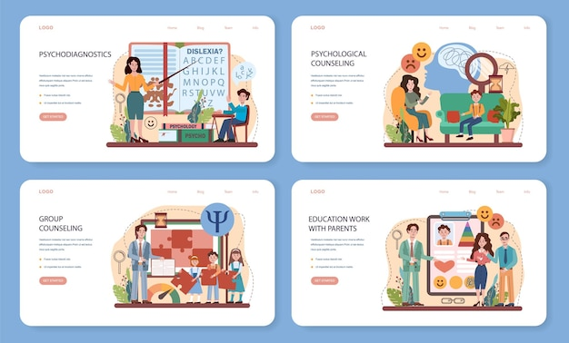 Bannière web de cours d'école de psychologie ou ensemble de pages de destination psychologue scolaire