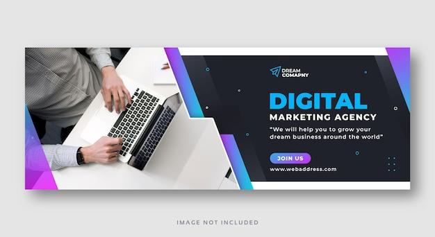 Bannière Web De Couverture De Médias Sociaux De Marketing Numérique Vecteur Premium