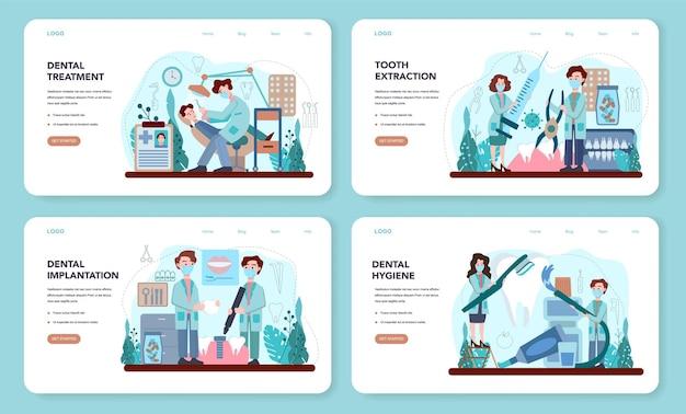 Bannière web de dentiste ou ensemble de pages de destination. traitement des caries. illustration vectorielle plane