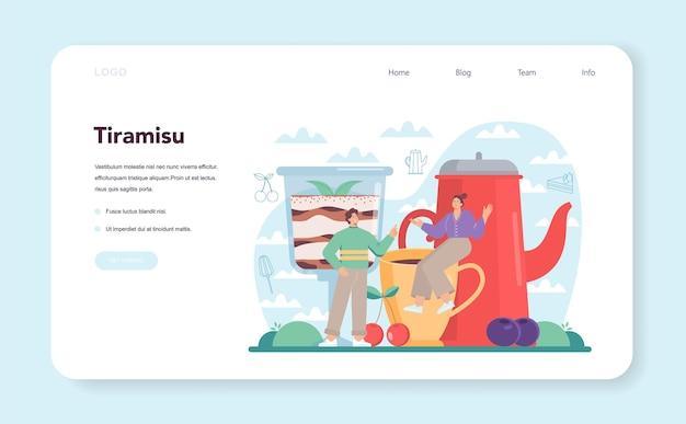 Bannière web de dessert tiramisu ou page de destination personnes cuisinant délicieusement