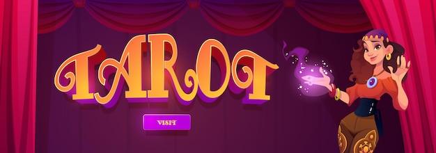 Bannière web de dessin animé de divination de cartes de tarot