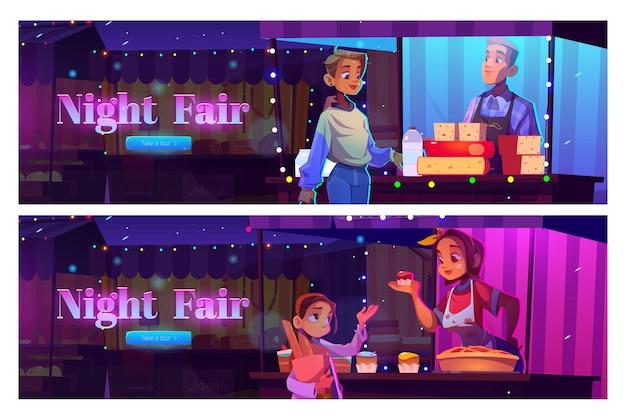 Bannière web de dessin animé de foire de nuit avec des gens visitent le marché en plein air