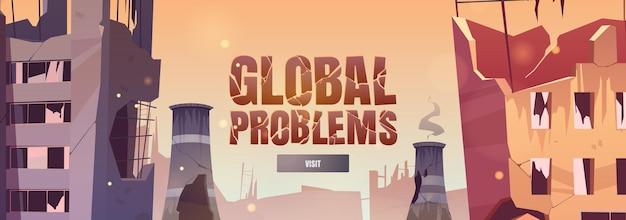 Bannière web de dessin animé de problèmes mondiaux