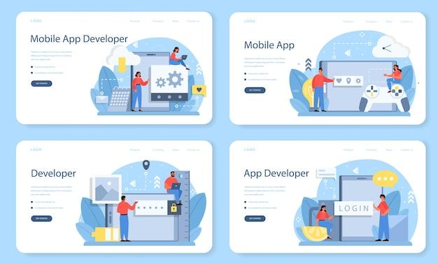 Bannière web de développement d'applications mobiles ou ensemble de pages de destination