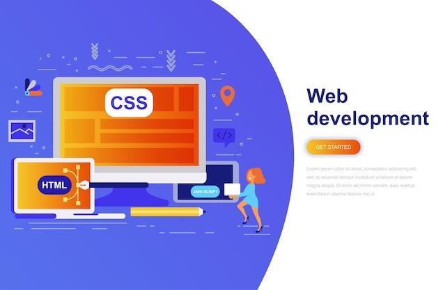 Bannière web de développement web moderne concept plat