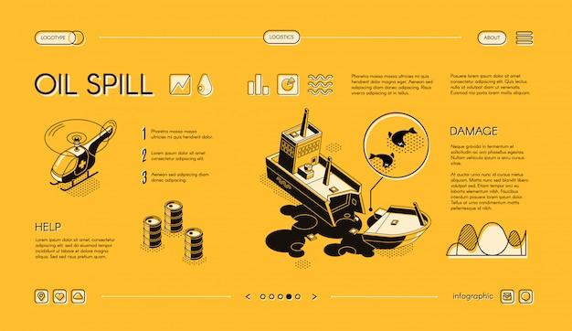 Bannière web de déversement d'hydrocarbures. navire pétrolier endommagé et en train de couler, hélicoptère de sauvetage des médecins