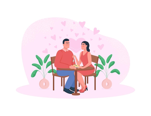 Bannière web de dîner romantique, affiche. couple mange des nouilles.