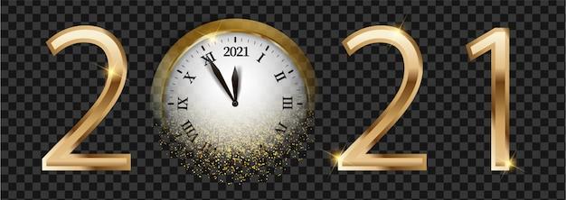 Bannière web du nouvel an 2021 brillant noir et doré. carte avec neige, réflexion et horloge ronde floue