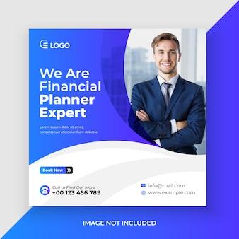 Bannière web du planificateur financier et modèle de publication sur les réseaux sociaux