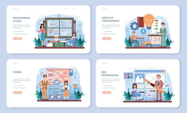 Bannière web d'éducation informatique ou ensemble de pages de destination. les élèves apprennent la programmation