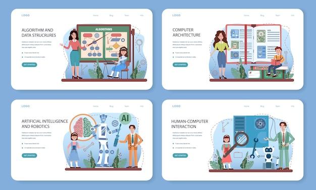 Bannière web d'éducation informatique ou ensemble de pages de destination. étudiants apprenant