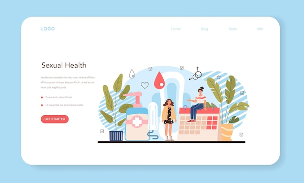 Bannière web d'éducation sexuelle ou page de destination leçon sur la santé sexuelle