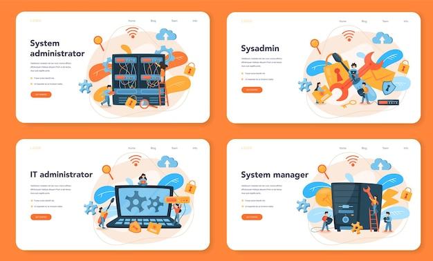 Bannière web ou ensemble de pages de destination de l'administrateur système