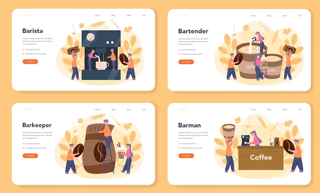 Bannière web ou ensemble de pages de destination barista