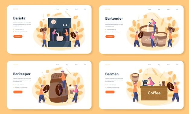 Bannière Web Ou Ensemble De Pages De Destination Barista Vecteur Premium