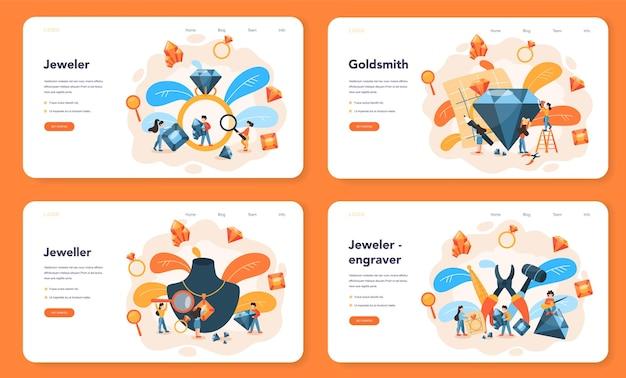 Bannière web ou ensemble de pages de destination de bijoutier et de bijoux
