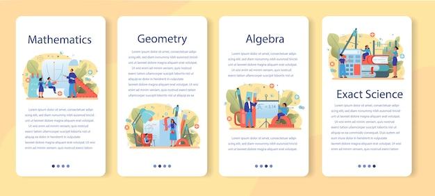 Bannière web ou ensemble de pages de destination de l'école de mathématiques. apprendre les mathématiques, idée de l'éducation et des connaissances. science, technologie, ingénierie, enseignement des mathématiques.
